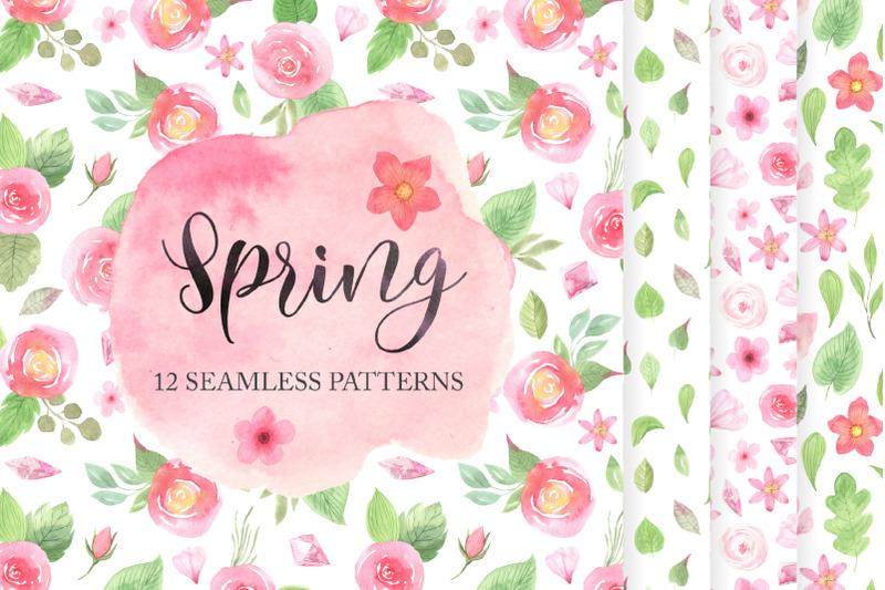 12-spring-seamless-pattern-set