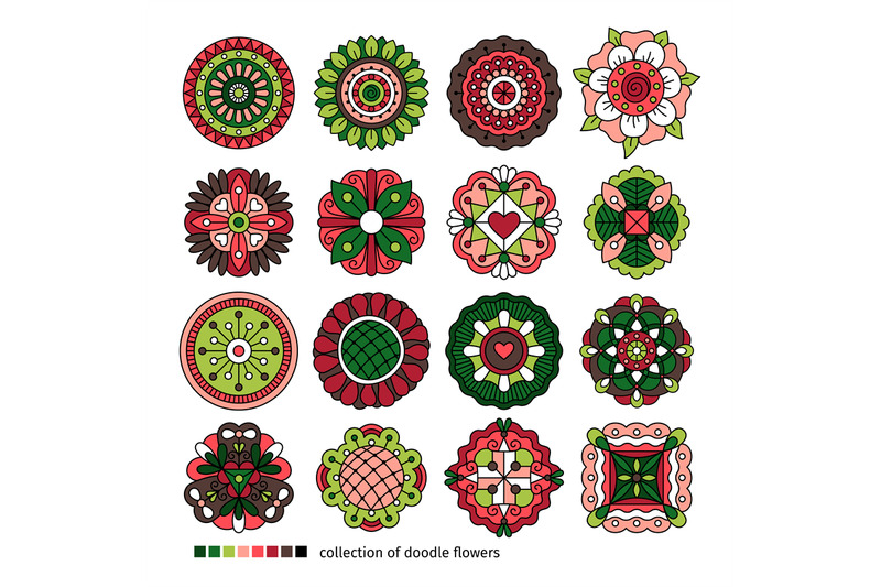 doodle-ethnic-flowers-collection