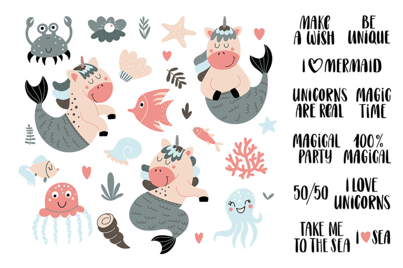 mermaid-unicorn-clipart-and-patterns