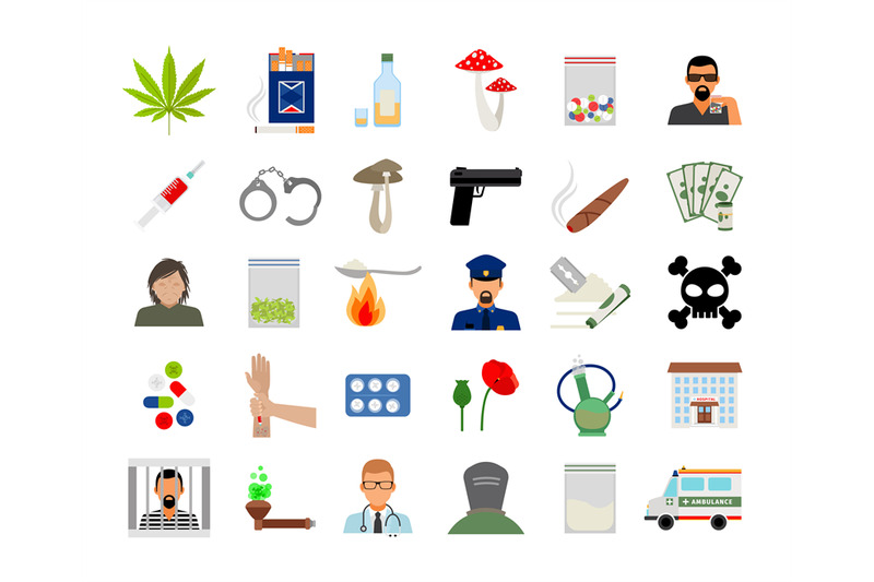 drugs-and-addiction-flat-icons