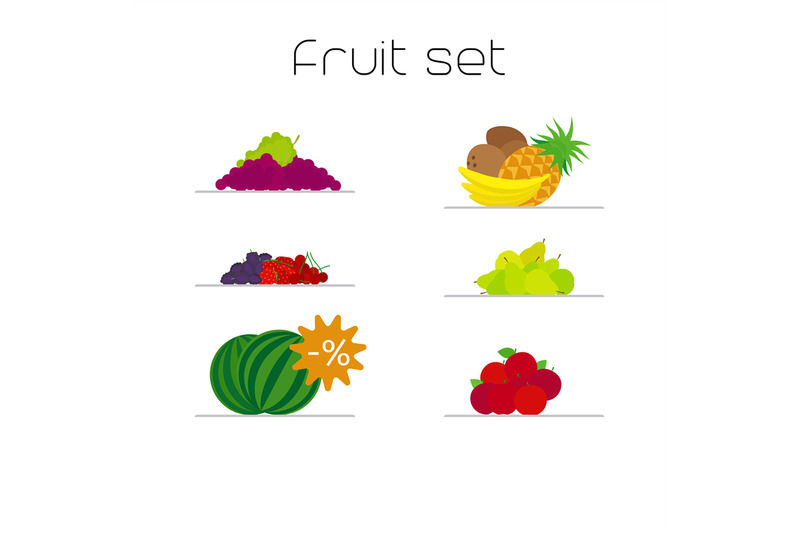 foods-market-fruits-flat-icons-set