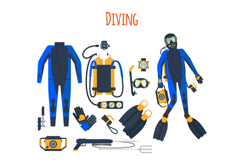 diving-equipment-isolated-set