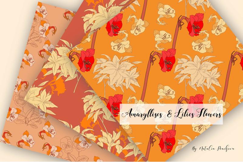 digital-paper-burnt-orange-flowers