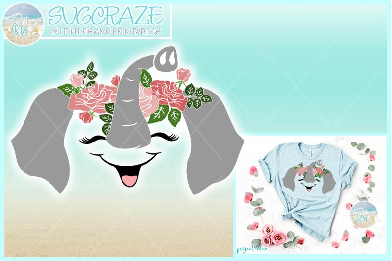 Svg Eps Dxf Png Pdf: Elephant Face With Roses SVG DXF EPS PNG PDF By SVGcraze