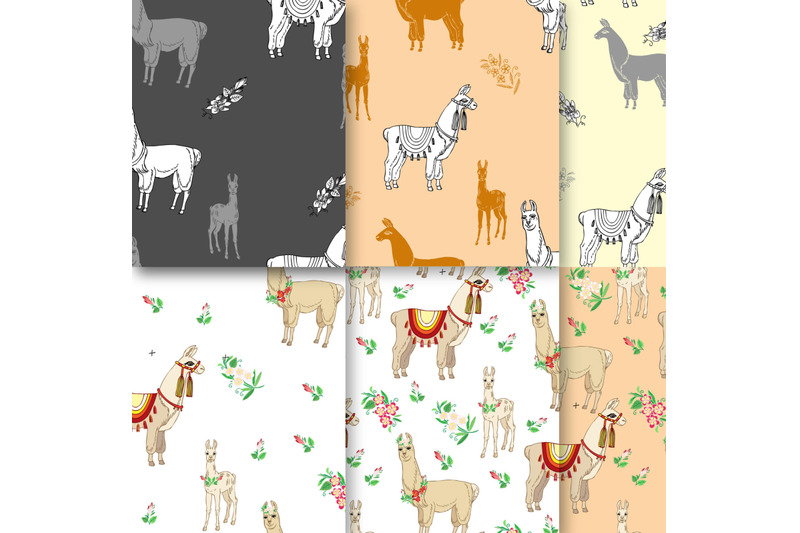 llamas-digital-paper-with-floral