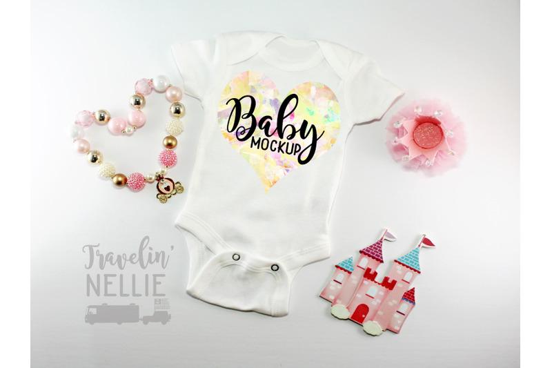 Free Princess Baby Girl White Blank Bodysuit Mockup, Infant One Piece Stock (PSD Mockups)