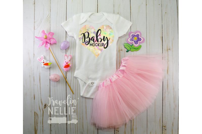 Free Easter Baby Girl, White Blank Bodysuit Mockup, Infant One Piece Stock (PSD Mockups)