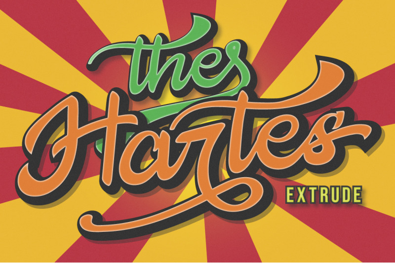 Download The Hartes Extrude Retro Script Font Family From