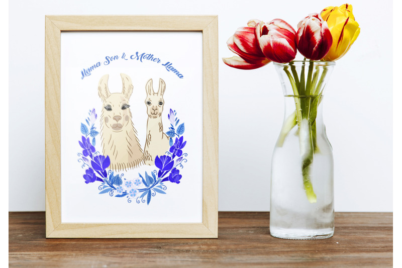 llama-clipart-with-red-flowers