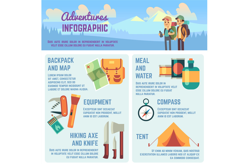 outdoors-adventure-vector-infographics-with-hiking-and-climbing-equipm