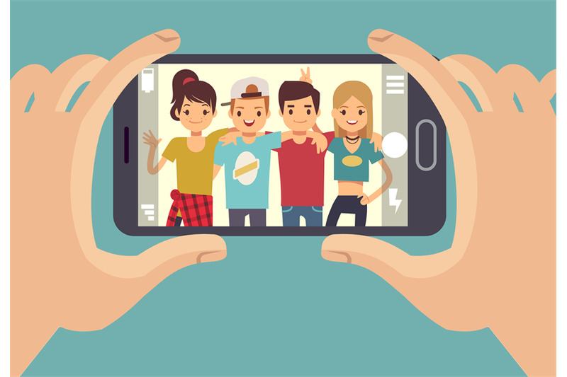 young-friends-teenagers-taking-photo-with-smartphone-friendship-vecto