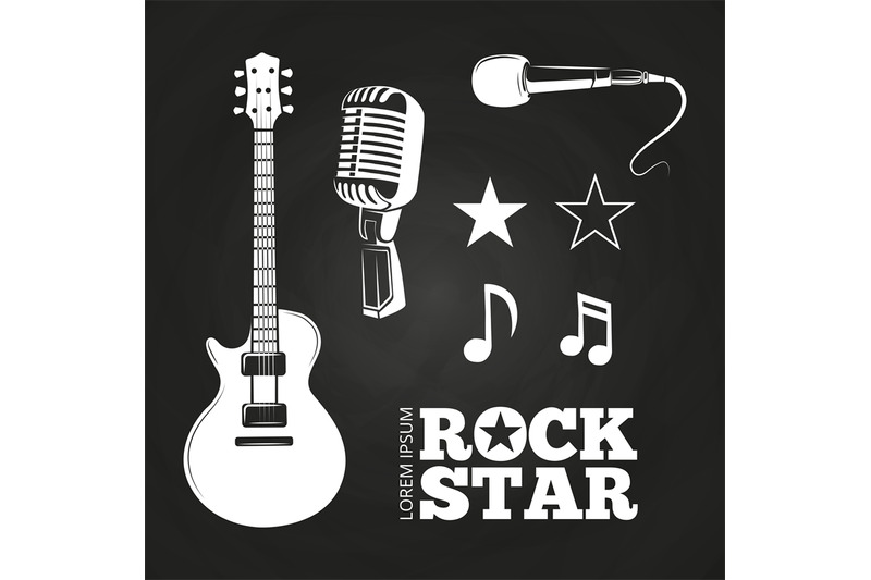 rock-star-or-musician-elements-set