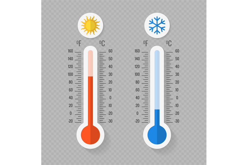 hot-and-cold-meteorology-thermometers-on-transparent-background