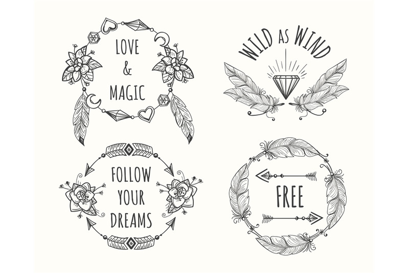 boho-tribal-logo-set-with-feathers