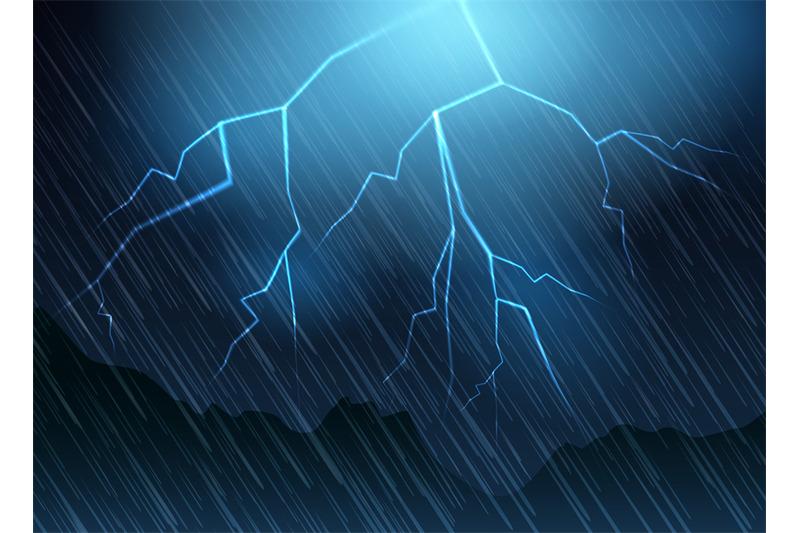 lightning-and-rain-blue-background