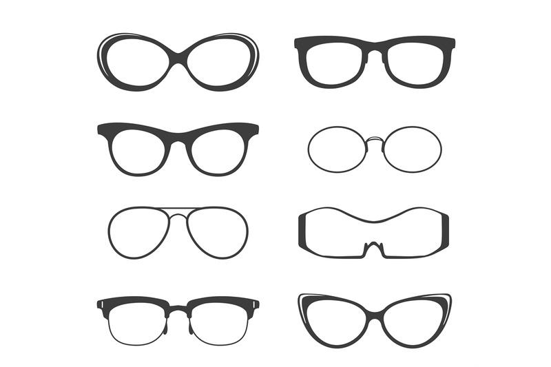 glasses-black-silhouette-set