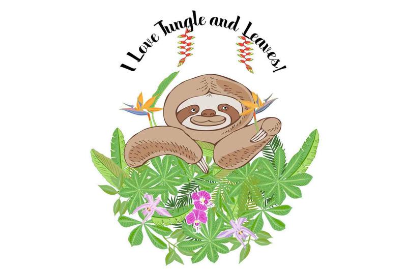 sloths-in-jungle-digital-clipart