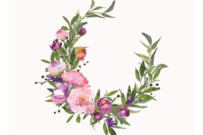 watercolor-pink-peony-wreaths