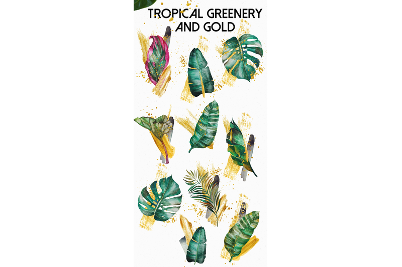 tropical-greenery-and-gold-design