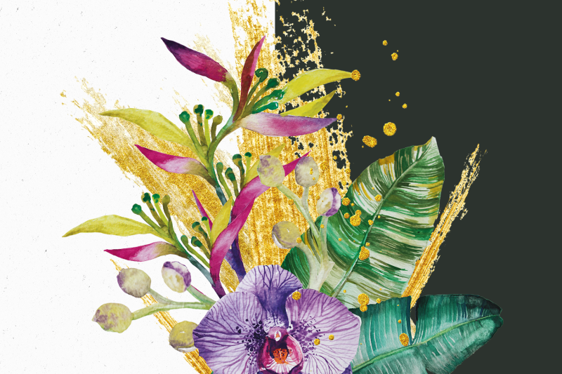 tropical-flowers-and-gold