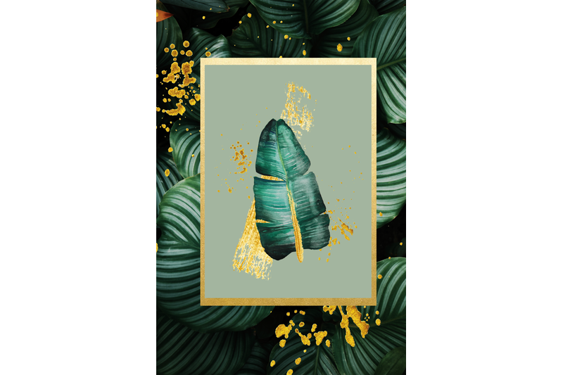 tropical-greenery-and-gold