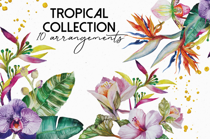 tropical-flower-arrangements-and-gold