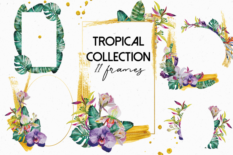 tropical-plants-frames-with-gold