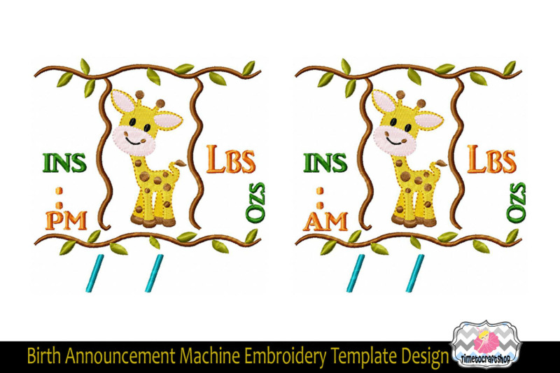 3 Sizes Giraffe Baby Birth Announcement Embroidery Design Template