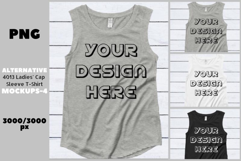 Download Alternative 4013 Ladies' Cap Sleeve Flat T-Shirt Mockups Free Mockups
