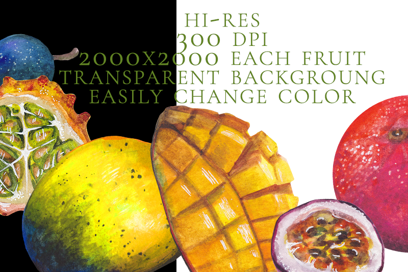 10-isolated-watercolor-tropical-fruits