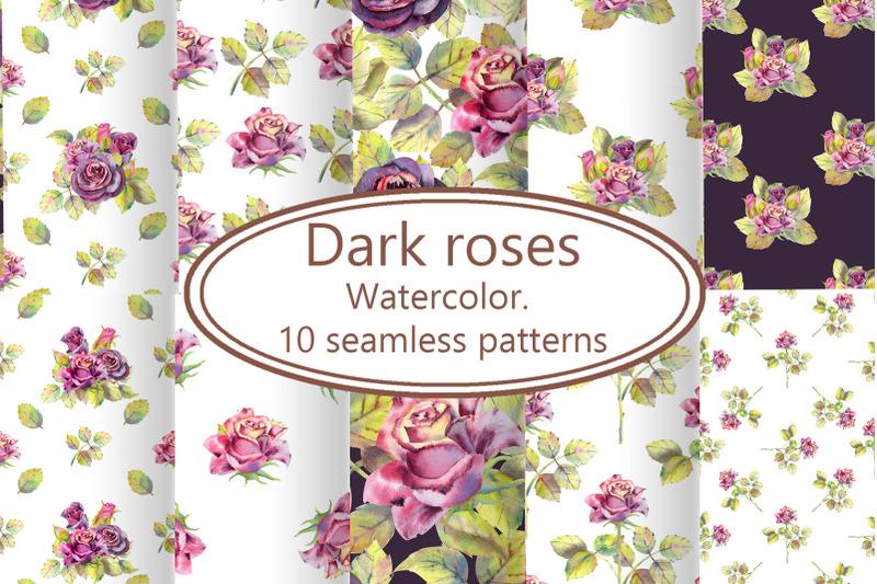 dark-roses-watercolor-10-seamless-patterns