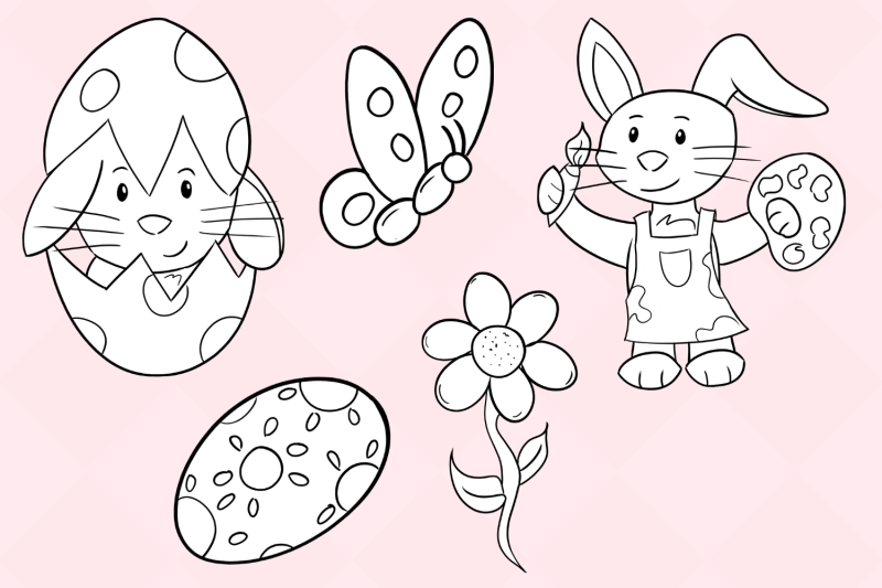 easter-bunny-digital-stamps