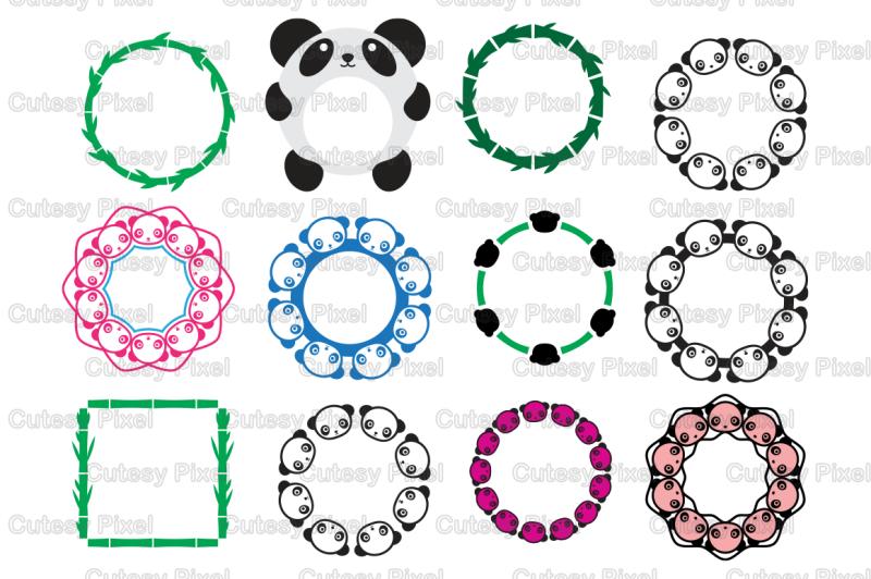 Panda Monogram Frames Svg Cutting File Panda Designs Svg