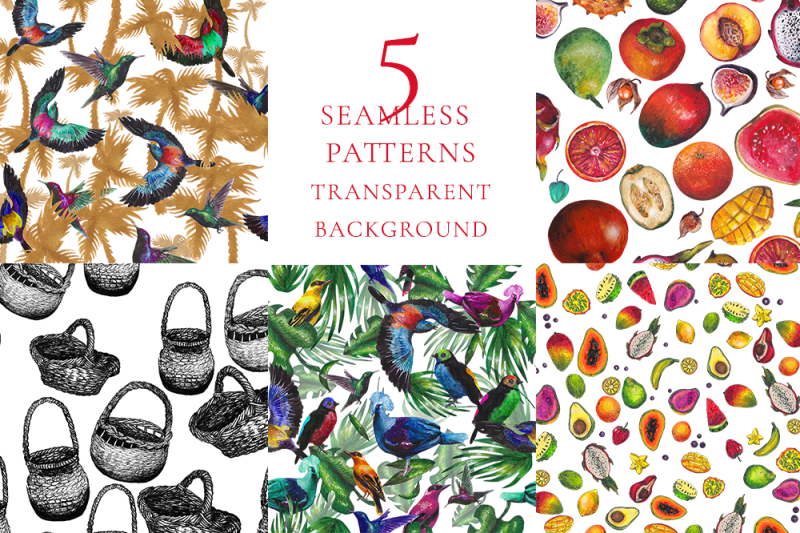 5-seamless-patterns-exotic-watercolor-and-ink