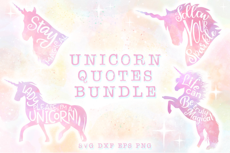 10 Unicorn Quotes Svg Cut Files Pack By Anastasia Feya Fonts Svg