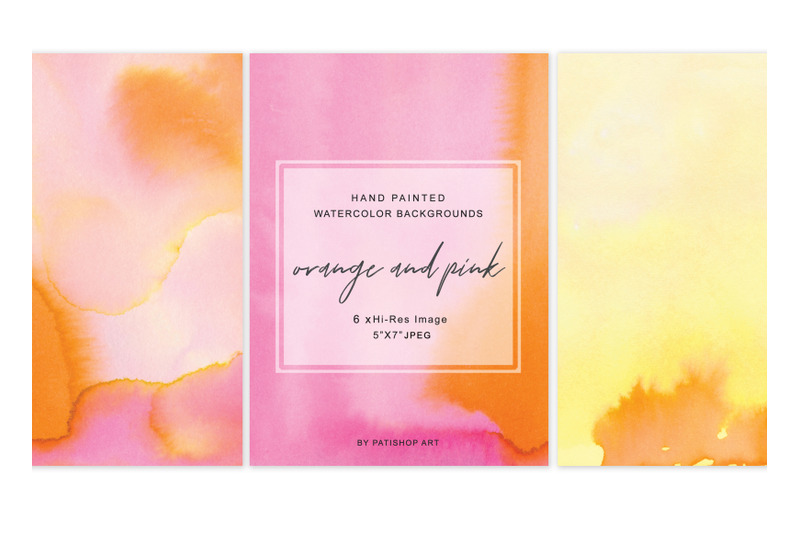 hand-painted-watercolor-background-orange-burnt-and-pink-5-quot-x7-quot