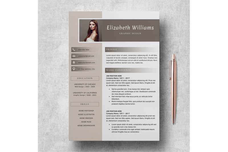 resume-template-for-word-and-pages-cv-template-elizabeth