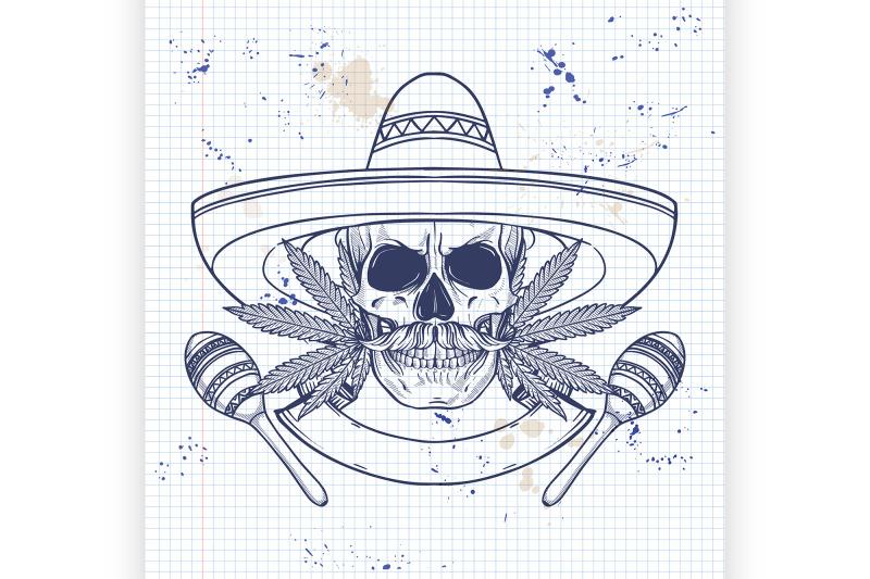 mexican-sketch-skull