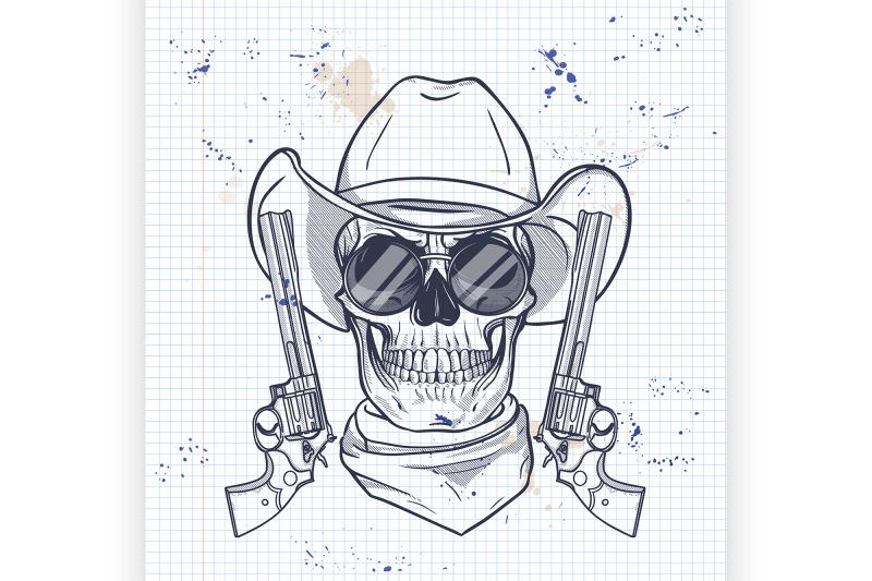 sketch-skull-with-cowboy