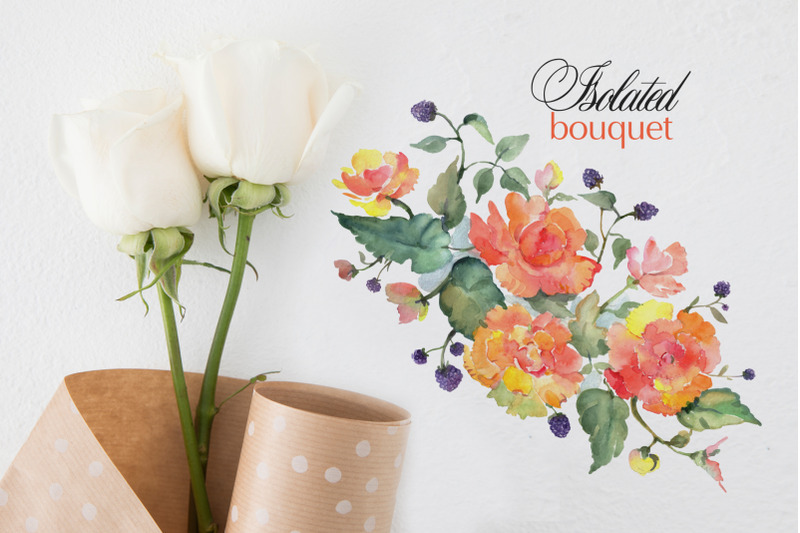 bouquet-with-orange-roses-watercolor-png