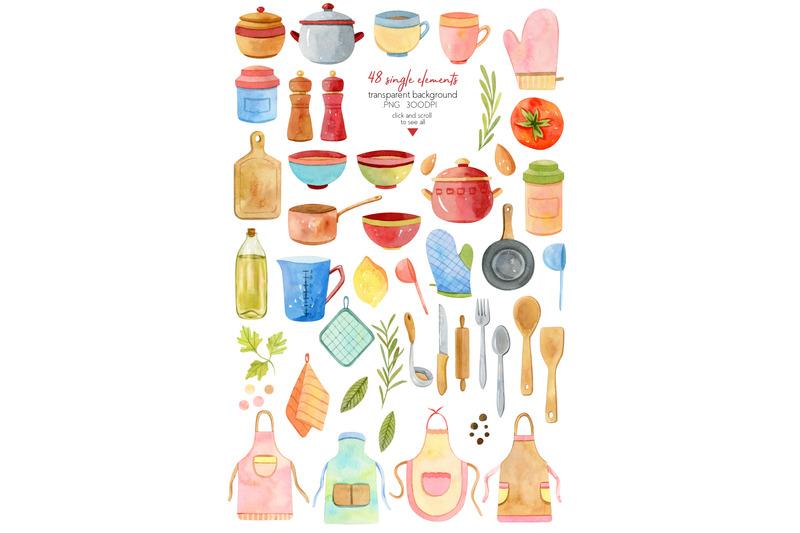 watercolor-kitchen-utensils-set-2