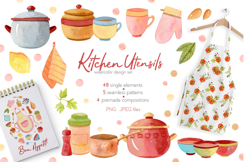 Watercolor Kitchen Utensils Set 2 By Julia M Watercolor