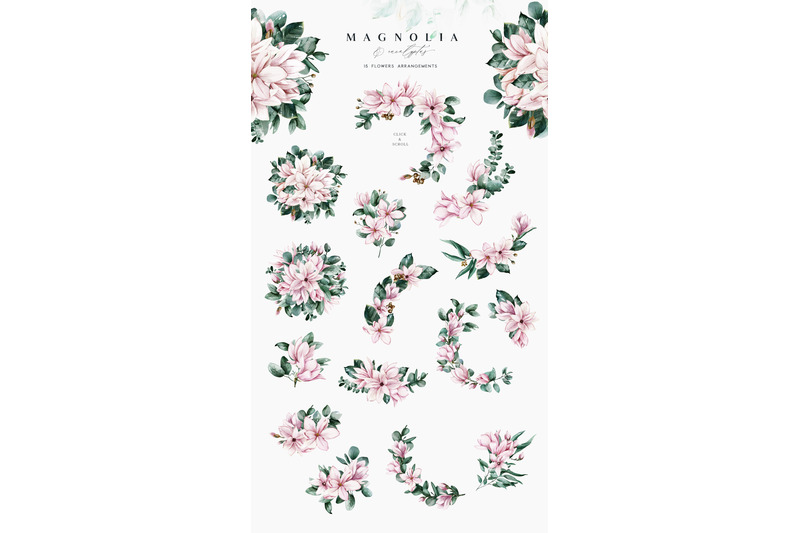 f843bb793296 Magnolia   Eucalyptus Watercolor Set By Little Magic Box ...