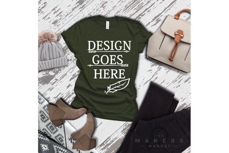 military-green-adult-t-shirt-t-shirt-mock-up-bella-canvas-t-shirts