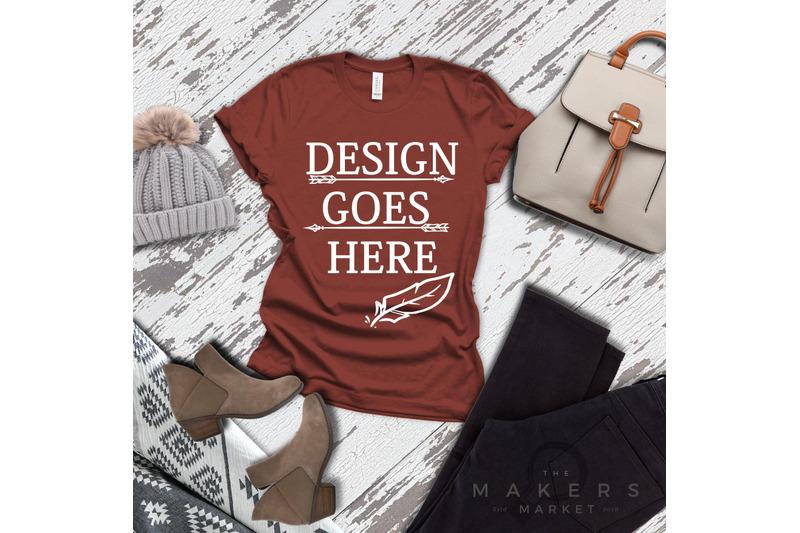 rust-adult-t-shirt-t-shirt-mock-up-bella-canvas-t-shirts-3001t-t-sh