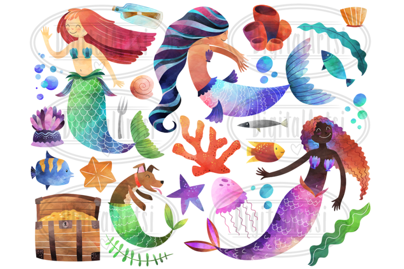 watercolor-mermaids-clipart