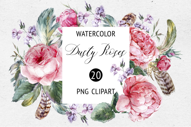 watercolor-dusty-rose-floral-clipart