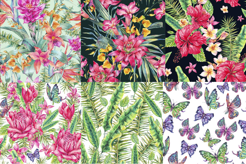 watercolor-summer-tropical-floral-pattern