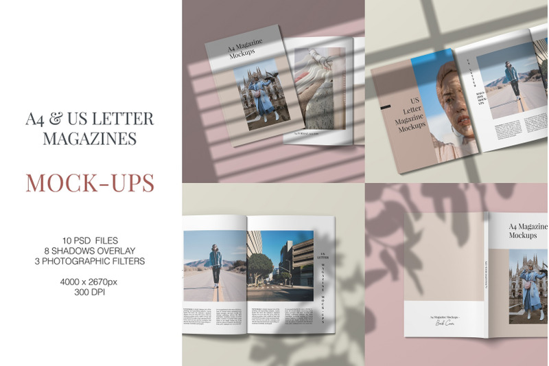 Free A4 and US Letter Magazines Mock-Ups (PSD Mockups)