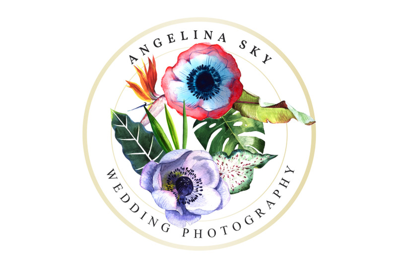 logo-with-tropical-flowers-watercolor-png